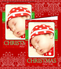 10 Personalised Christmas Greeting Cards Thank You Red Snowflakes Family Photo
