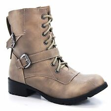 Nova Taupe PU Ankle Boot Rounded Toe Lace-Up Fashion Buckles Womens New Shoe