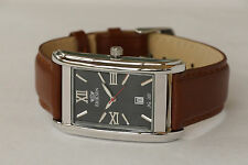 Mans Vintage Retro Rectangular Mens Classic Watch Leather Strap Gold or Silver