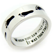 Black Footprints Prayer Ring Footprints In The Sand Recovery & Religious Jewelry