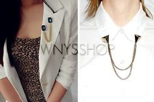 Women Collar Tips Stylish Fashion Chain Gem Stone Blouse Shirt Studs Pin Brooch