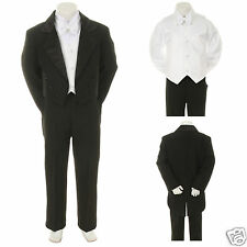 Baby Toddler Kid Black White Mix Match Wedding Formal Tuxedo Tail Boy Suit S-20