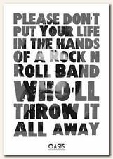 OASIS - Dont Look Back In Anger song lyric poster typography art print - 4 sizes