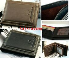 New Black Brown Mens cow leather bifold wallet credit/ID card holder slim purse