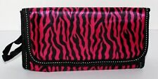 Adorable Mini Purse Style Make-Up Case in Pink and Black Zebra with Carry Strap