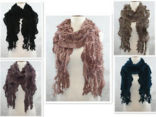 Women Ruffle Fuzzy Knitted Crochet  Winter Long Scarf  Wrap Shawl 5 Color