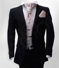BOYS BLACK & PINK WEDDING CRAVAT SUIT PAGEBOY PROM SUIT AGE 6 MTH TO 16 YRS