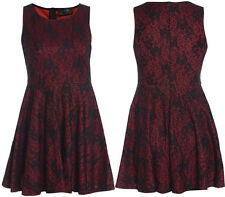 New Womens Plus Size Bonded Lace Kick Out Skater Dress 16-26