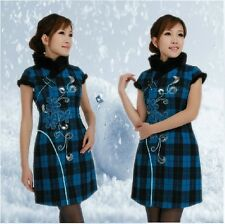 Chinese Women Lady Cheongsam Fur Collar and Shoulder Winter Short Dresses Blue