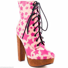 IRON FIST STARSHIP PINK HIGH HEELS PLATFORM BOOTS BOOTIE SHOES - SIZE 3 TO 9