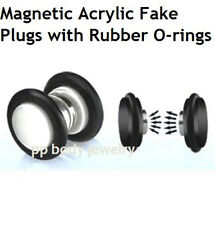 "PAIR 1/2"" (12mm) Illusion Fakes Magnetic Acrylic  Fake Plugs with Rubber O-rings"
