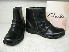 Clarks Nailsea Town Black Leather Casual Zip Up Ankle Boots