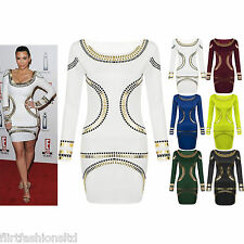Womens Gold Foil Mini Dress Celebrity KARDASHIAN Bodycon Tunic Short Midi Classy