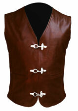 Mens Sexy 100% BROWN Real Cow Leather Bikers Vest / Waistcoat with Chrome Hooks