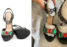 Love Moschino Multistone Sandal Black White platform heels lace buckle green red