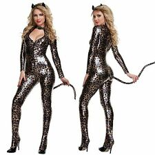 Sexy Womens Animal Leopard Cheetah Tiger Print Catsuit Halloween Costume Set