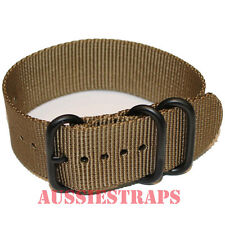 PREMIUM ZULU® PVD 3 Ring OLIVE BROWN Military Divers watch strap band Heavy Duty