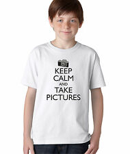 Kid's Keep Calm and Take Pictures Funny T-Shirt Boy's Photography Camera Tee