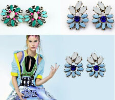 2013 new mix color flower Stud fashion exaggerate flower crystal women earrings