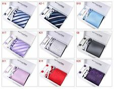 Mens Silk Tie Set Dress Necktie Cufflinks Hanky Tie Clip Wedding Formal Suits