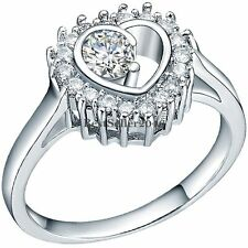 Silver Tone Only You in My Heart Love Round CZ Women's Engagement Promise Ring