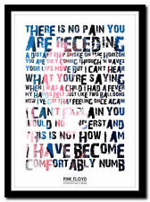 PINK FLOYD - Comfortably Numb - lyric poster ❤ typography art print - 4 sizes #4