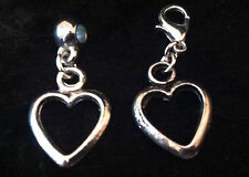 Tibetan Silver Open Love Heart Charm Clip on clasp or bail for snake bracelets