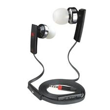 Black Super Bass Headset Flat Wire W/ Mic Volume Remote Control for Samsung