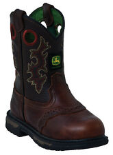 John Deere Infants NEW JD1164 Brown Leather Western Cowboy Boots SIZES