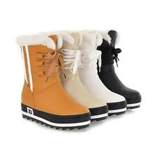 WOMENS WATERPROOF FLAT HIGH CALF FUR LINED LACE UP GIRLS WINTER SNOW BOOTS TAGS