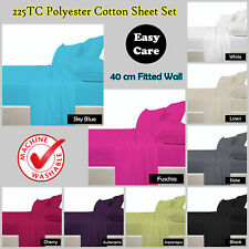 40cm Wall - 225TC Poly Cotton Sheet Set - SINGLE King Single DOUBLE QUEEN KING