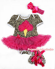 Infant Hot Pink Ice Cream Leopard Bodysuit Hot Pink Baby Dress Shoes Set NB-12M