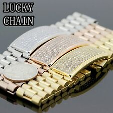 MEN`S STAINLESS STEEL ICED OUT LAB DIAMOND BRACELET/84g/IB2