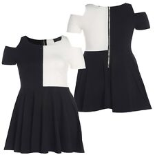 New Womens Plus Size Cut Out Color Block Skater Dress Going Out Dress