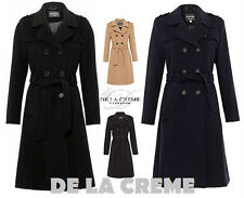 De La Crème - Women's Wool & Cashmere Belted Long Military Trench Warm Coat