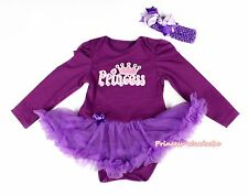 Girl Pink Princess Print Purple Bodysuit Purple Pettiskirt Baby Dress NB-18Month
