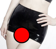 NEW ENGLISH | LATEX RUBBER HOT PANTS WITH OPEN CROTCH | BLACK | S M L XL