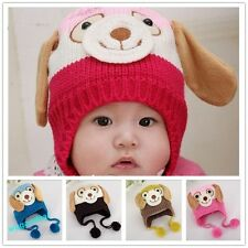 Lovely Animal Dog  kids caps Knitted Baby Cap Boy Girl Winter Hat 4 Colors