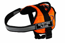 DT Works Orange Dog Harness Velcro Patches NO PETTING PLEASE