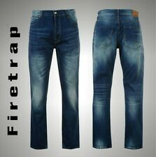 GENUINE FIRETRAP MENS JEANS ORIGINAL DESTROYED STRAIGHT FIT WAIST SIZE 32 34 36