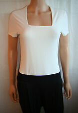 KALIKO Womens Square Neck Cream Stretch Top Office Wear Blouse / Size 8 10 12