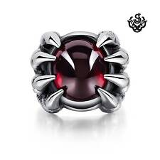 Silver claws ring red cz solid stainless steel band