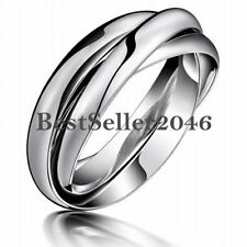 Silver Tone Polish Stainless Steel Triple Interlocking Dome Unisex Rolling Ring