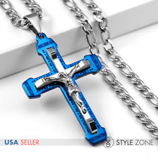 Men's Fashion Stainless Steel Jesus Large Blue Cross w/ Necklace Great Gift 11G