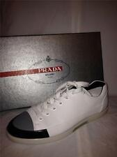 PRADA Mens ThreeTone White Grey Black Leather Lace Up Sneakers Tennis Shoes $530