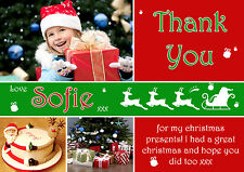 10 Personalised Christmas Greeting Thank You Cards Multiple Photos  Reindeer Red