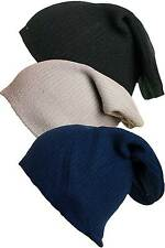 Boys Pull On Long Beanie Hat, Navy, Black, Grey, 7-13 Years