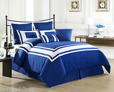 LUX DECOR - BLUE - KING Size 8 Piece Comforter Set With White Stripe Bedding