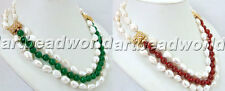 variation color  white baroque Natural freshwater pearl and jade beads necklace