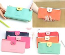 Women Long Wallet Bifold Flap Up Button Purse_SHINZI KATOH Kiss You Slim Wallet